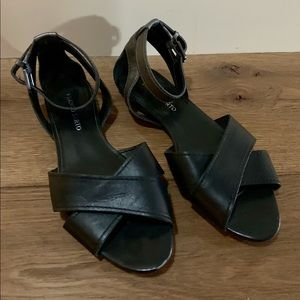 Franco Sarto black and pewter strapped sandals